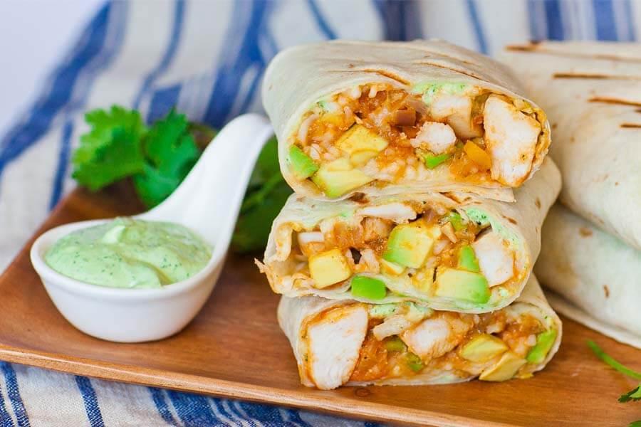 avocado chicken burrito recipe with cilantro sauce
