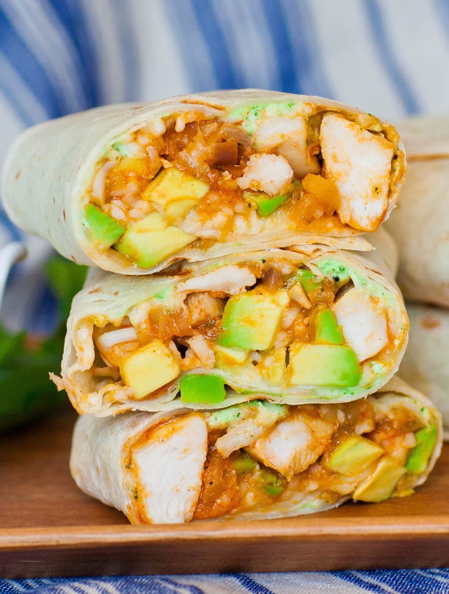 Avocado Chicken Burrito with Cilantro Sauce