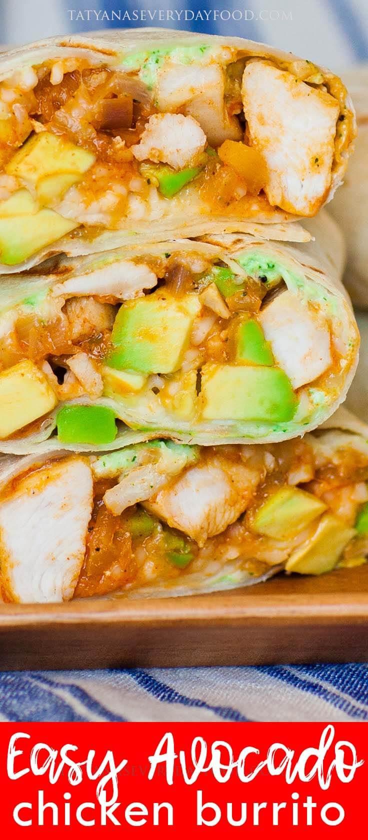 Easy Avocado Chicken Burrito Recipe with video