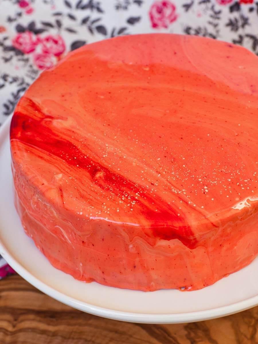 how to make a mirror glaze cake - orange glazed cake