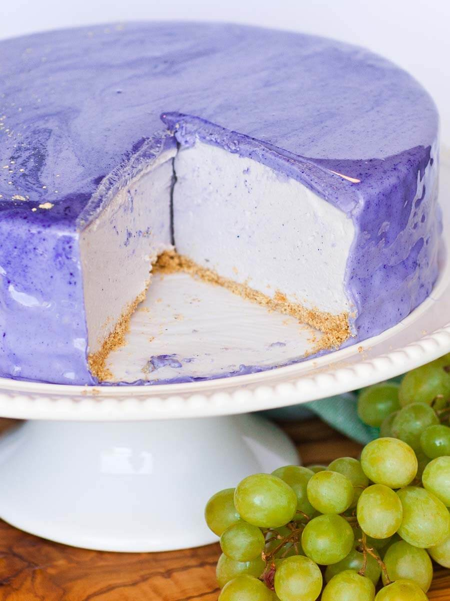 No-Bake Grape Cheesecake with mirror glaze