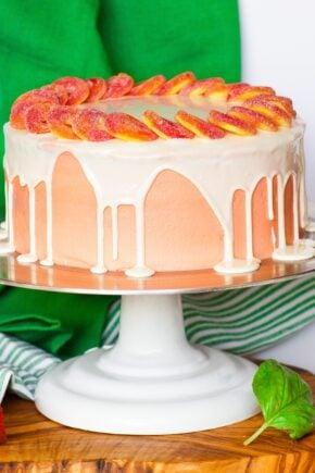 peaches and cream cake with white chocolate ganache