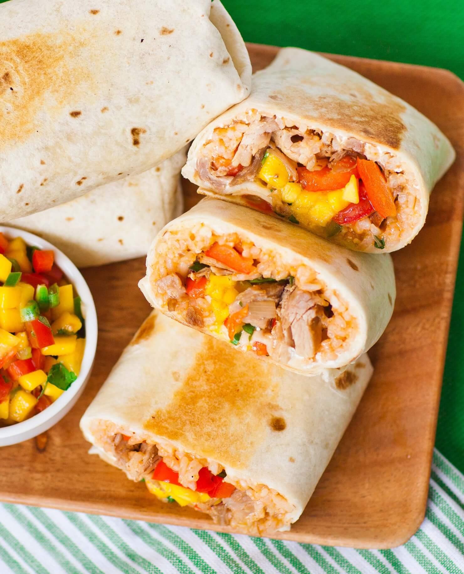 pork and pepper rice burritos