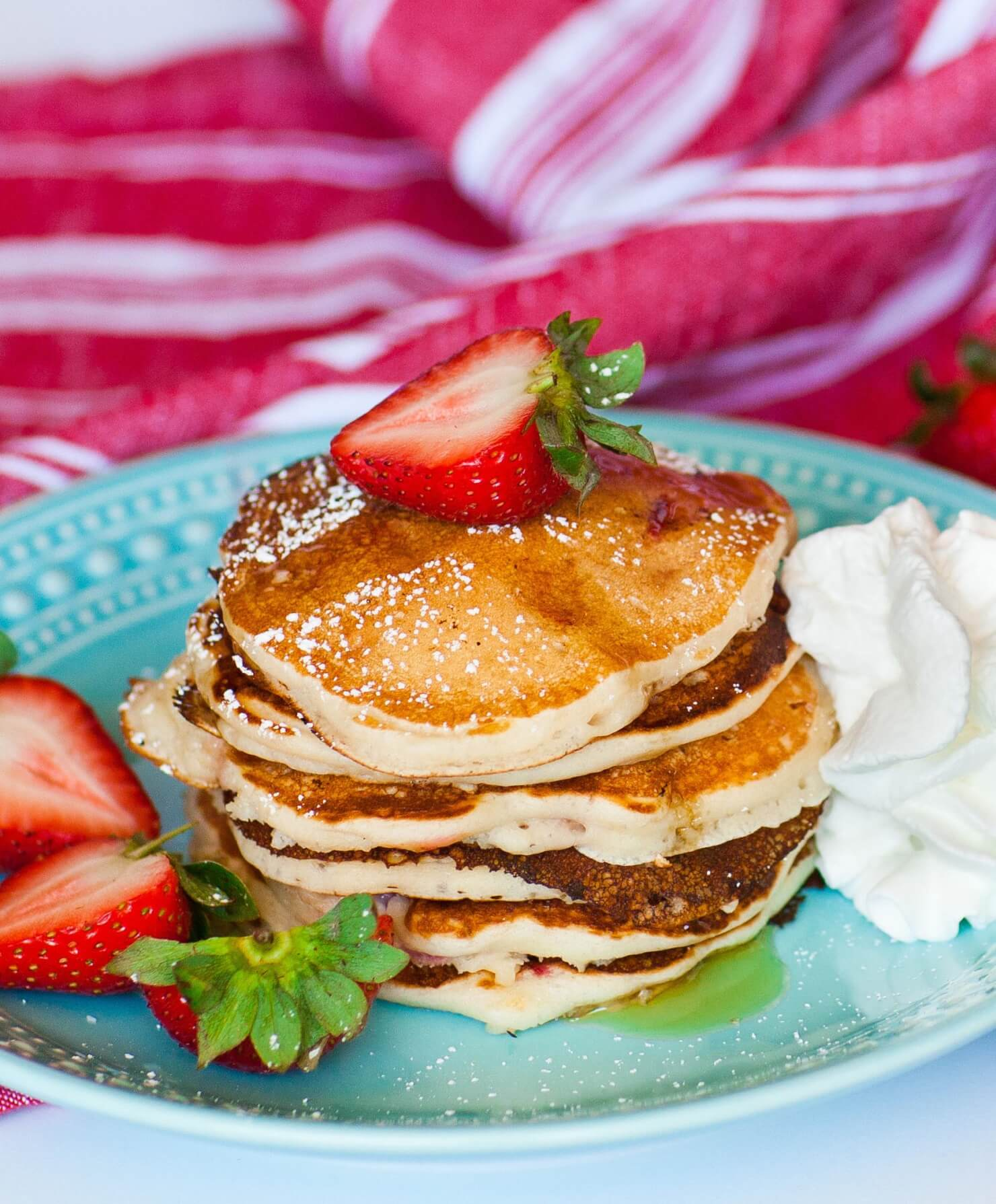 fluffy strawberry pancakes with strawberry