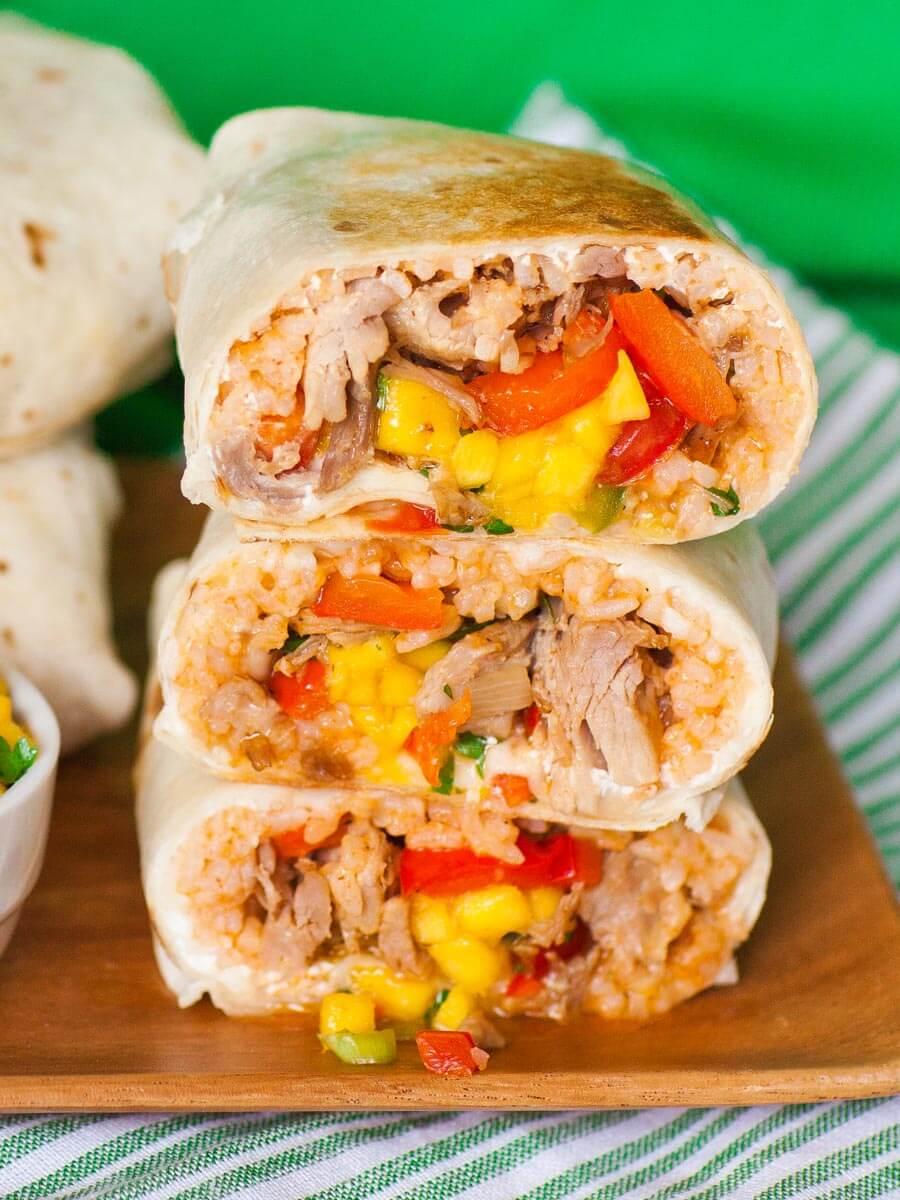 pork and rice burritos with mango salsa and pork rib meat
