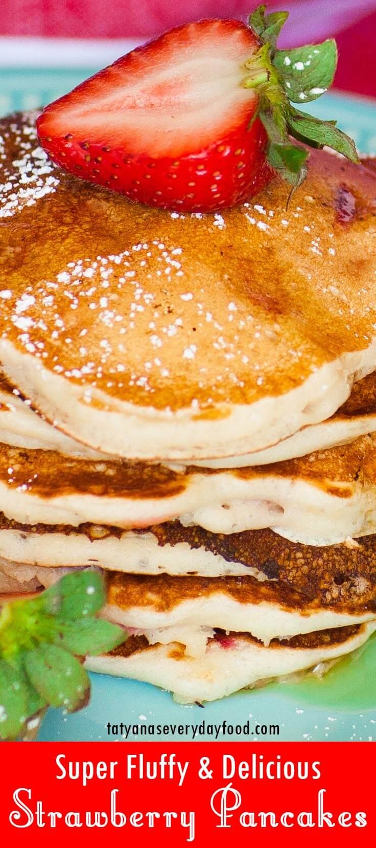 Super Fluffy Strawberry Pancakes video recipe