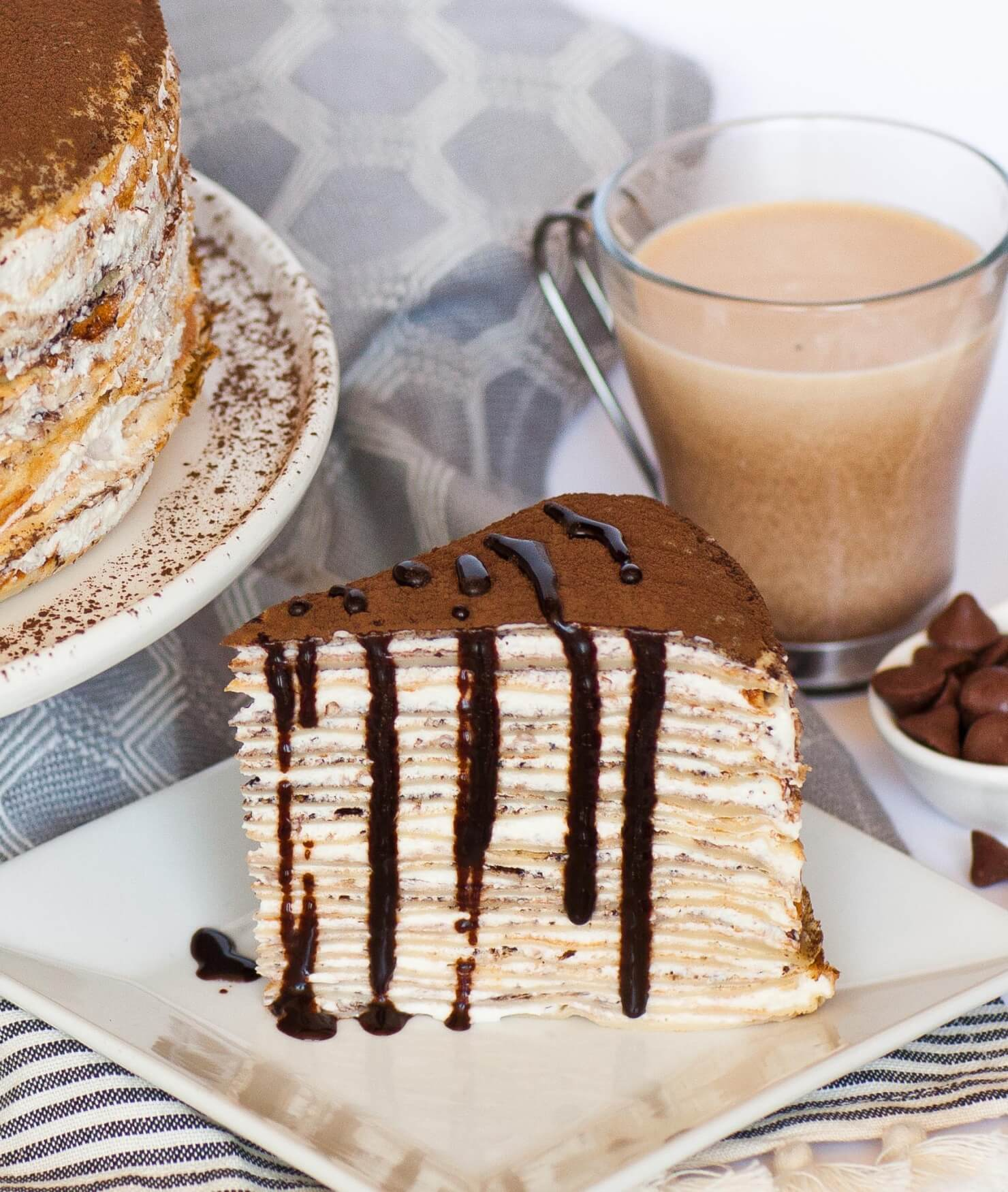tiramisu crepe cake slice with chocolate