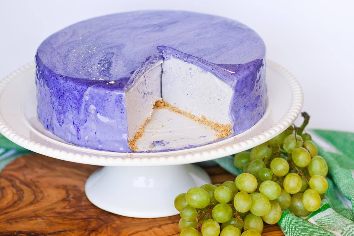 Jelly Glaze Recipe For Cake: No-Bake Grape Cheesecake With Mirror Glaze