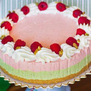 Pistachio Raspberry Ice Cream Cake