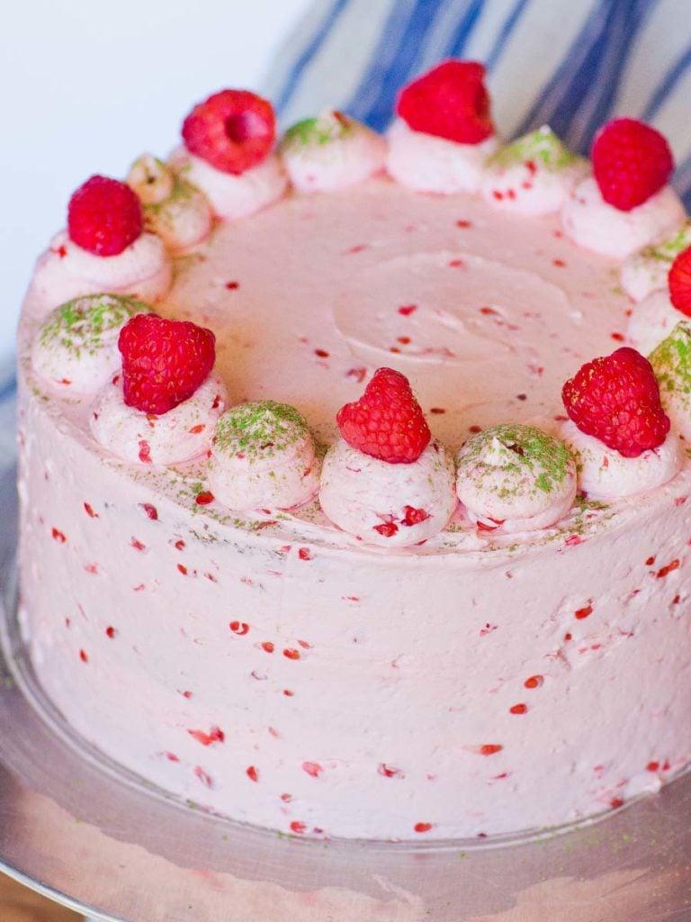 raspberry cake with raspberry buttercream