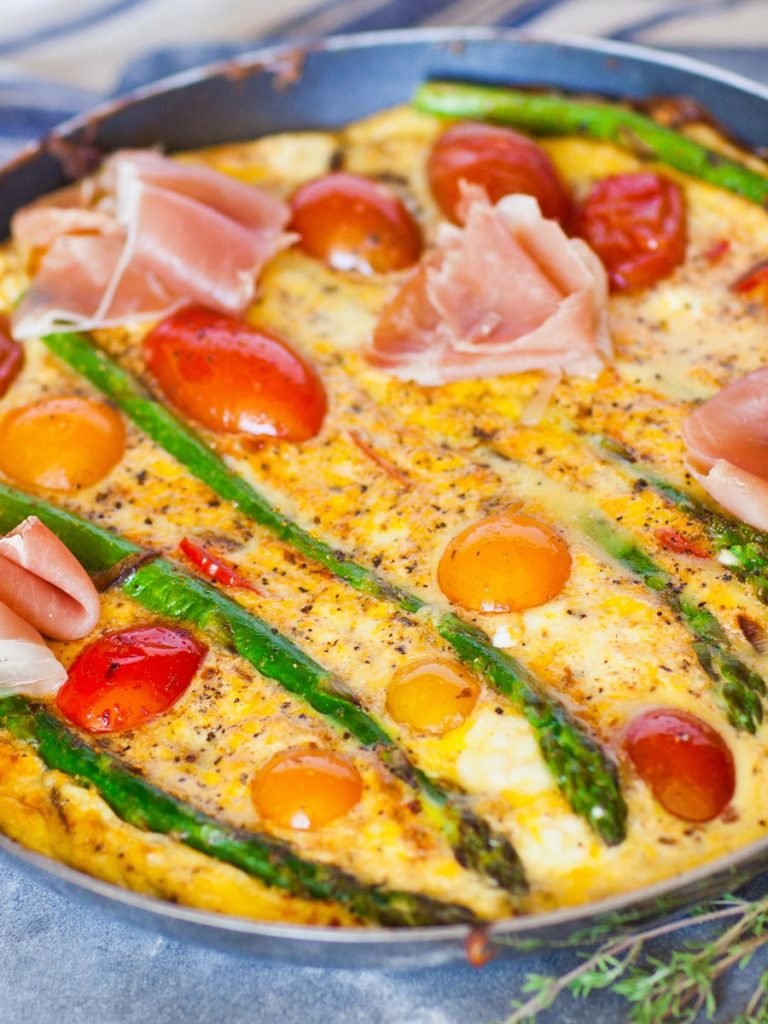 breakfast frittata recipe with asparagus and prosciutto