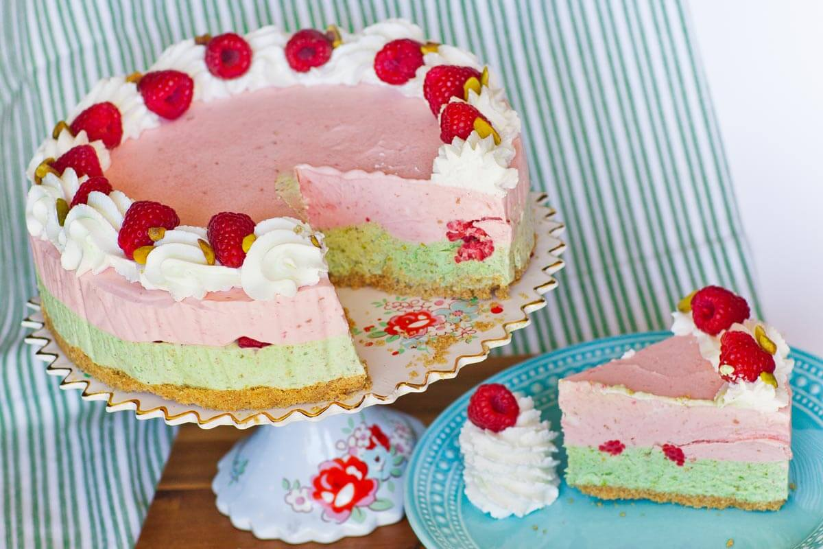 Pistachio Raspberry Ice Cream Cake