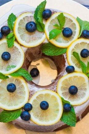 lemon poppy seed cake decorated with lemons