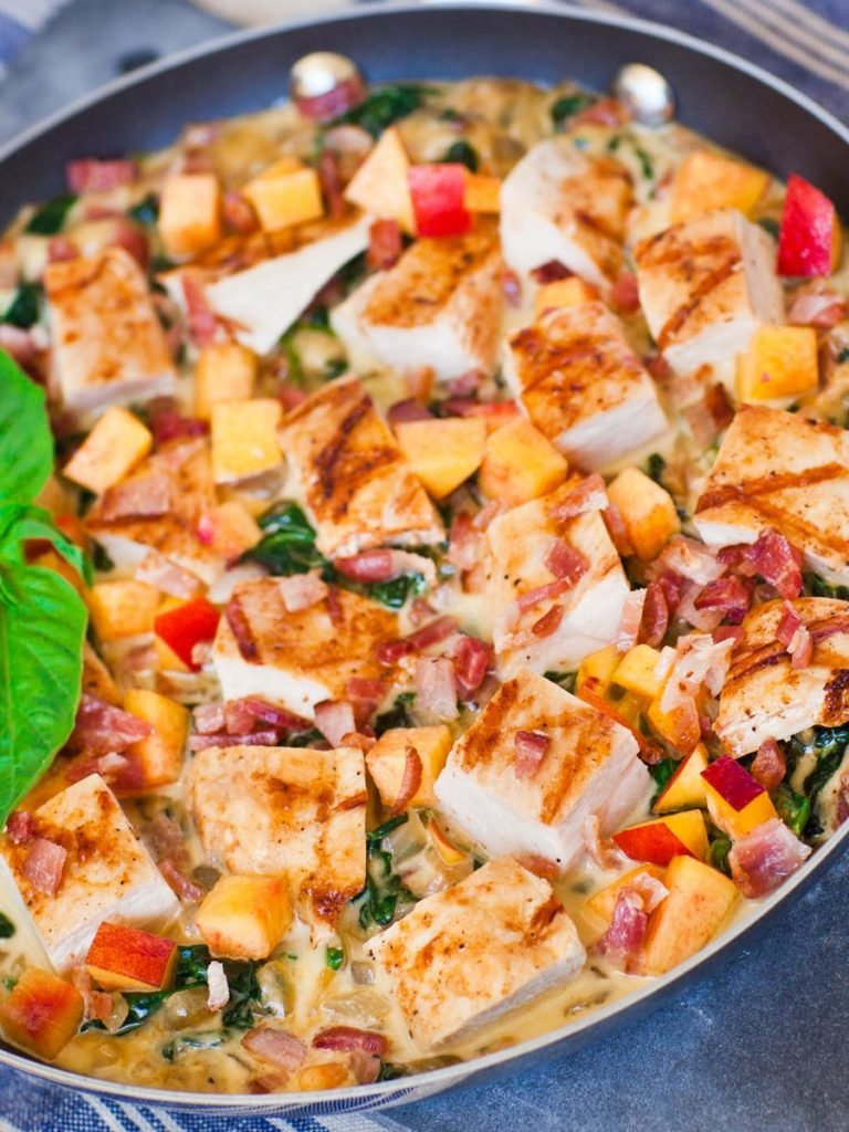 grilled chicken dip with nectarines and spinach