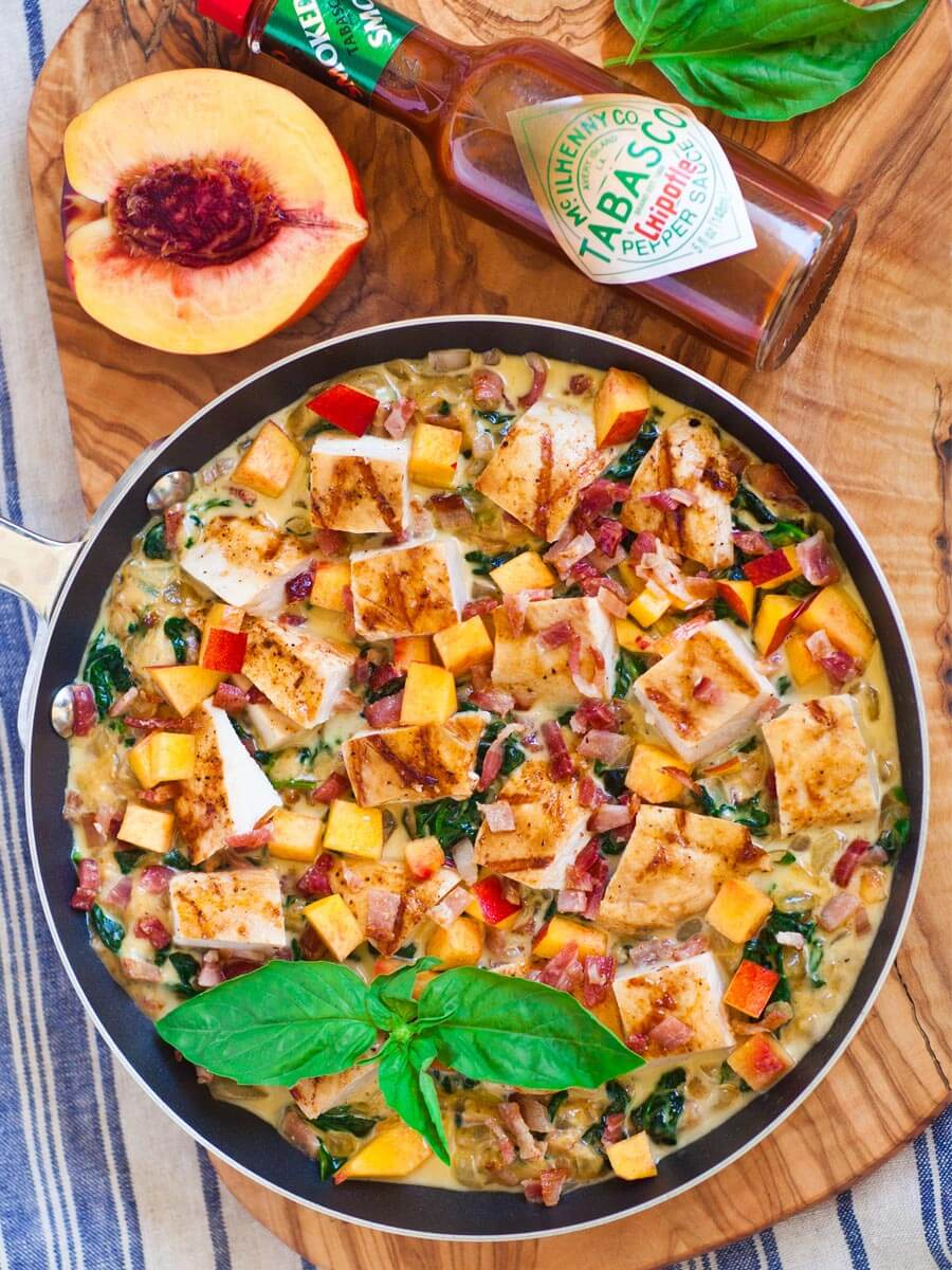 grilled chicken dip with cheese, nectarines and bacon