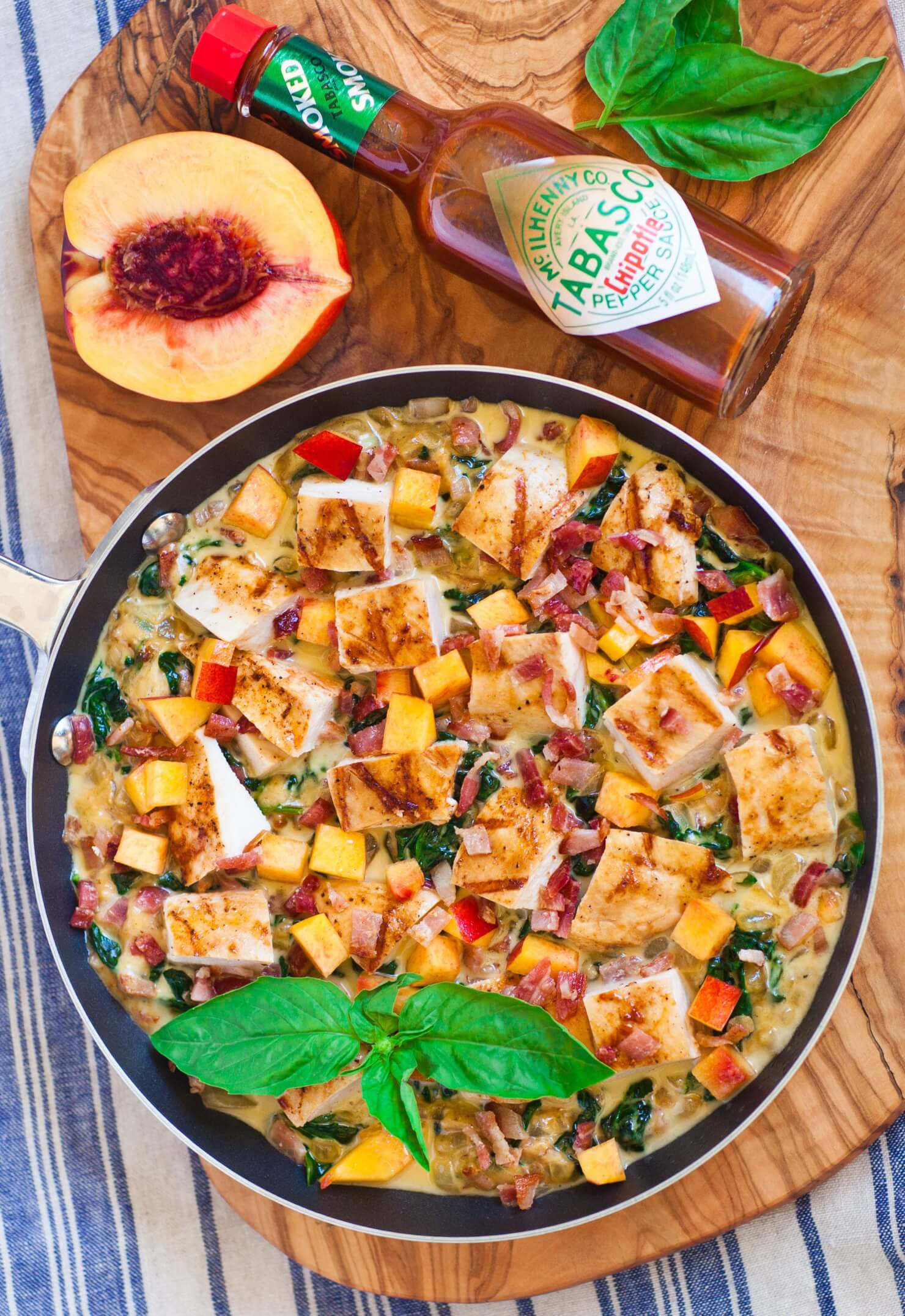 grilled chicken, cheese and peach skillet