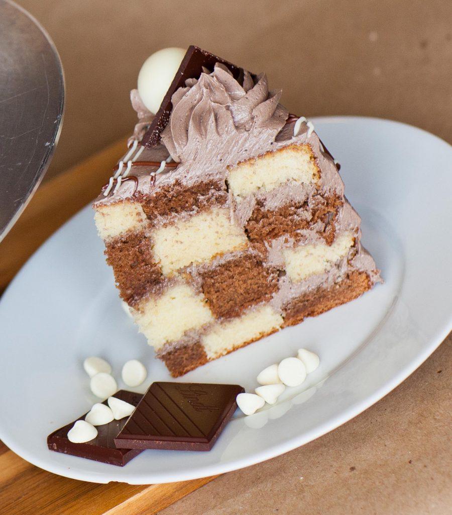 chocolate checkered cake recipe slice