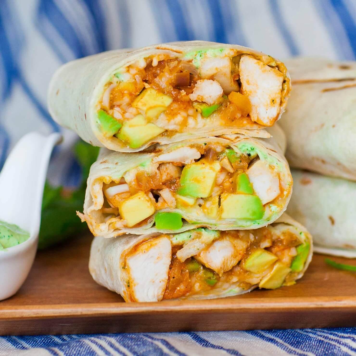 Avocado Chicken Burrito with Cilantro Sauce - Tatyanas ...