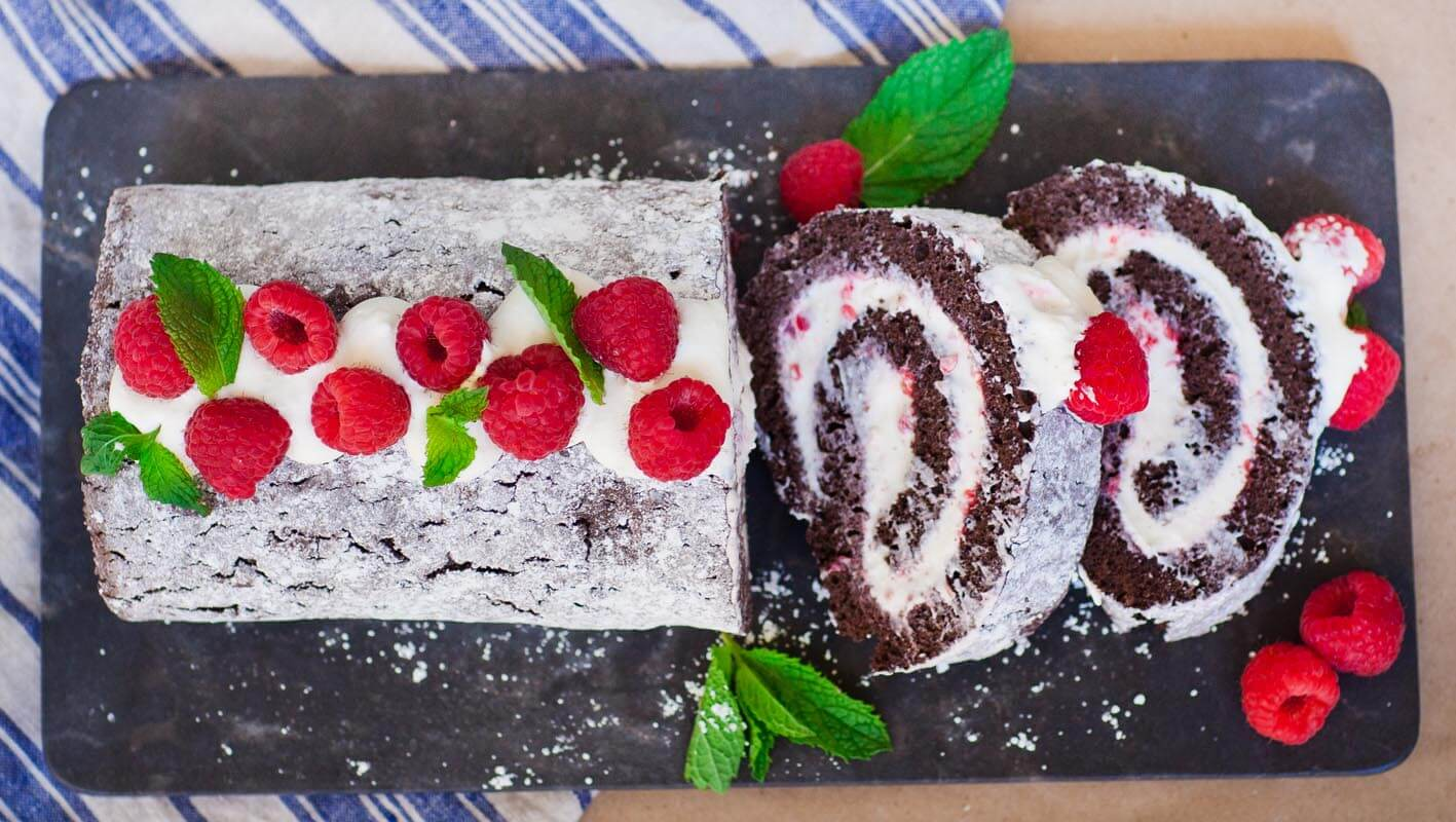 Chocolate Raspberry Swiss Roll