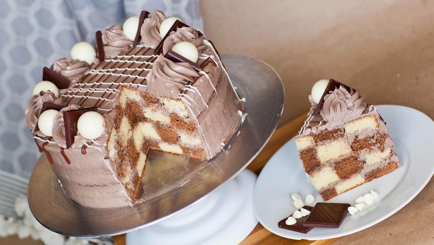 Triple Chocolate Checkered Cake