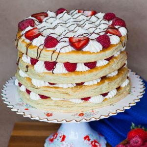 Berries and Cream Mille-Feuille Cake