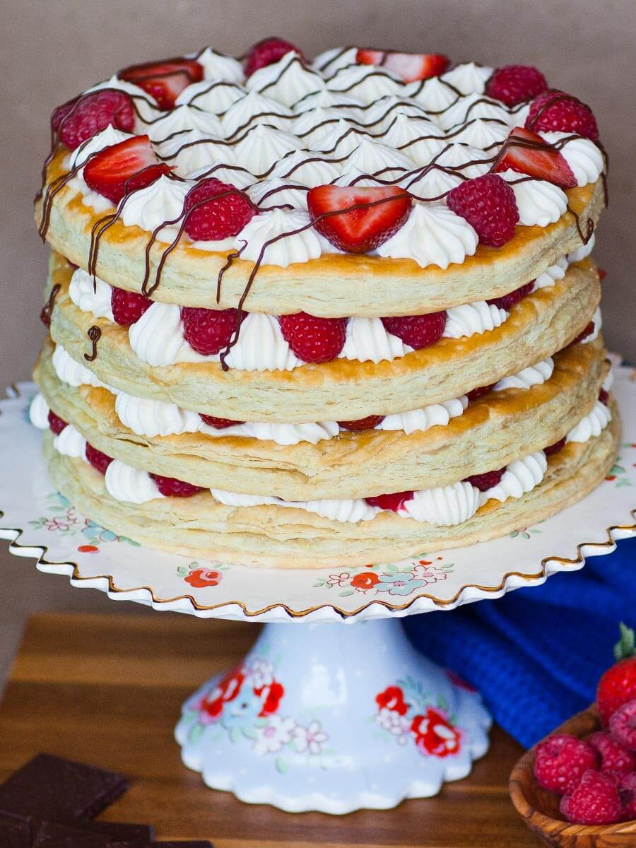 Berry Mille Feuille Cake with whipped cream and custard