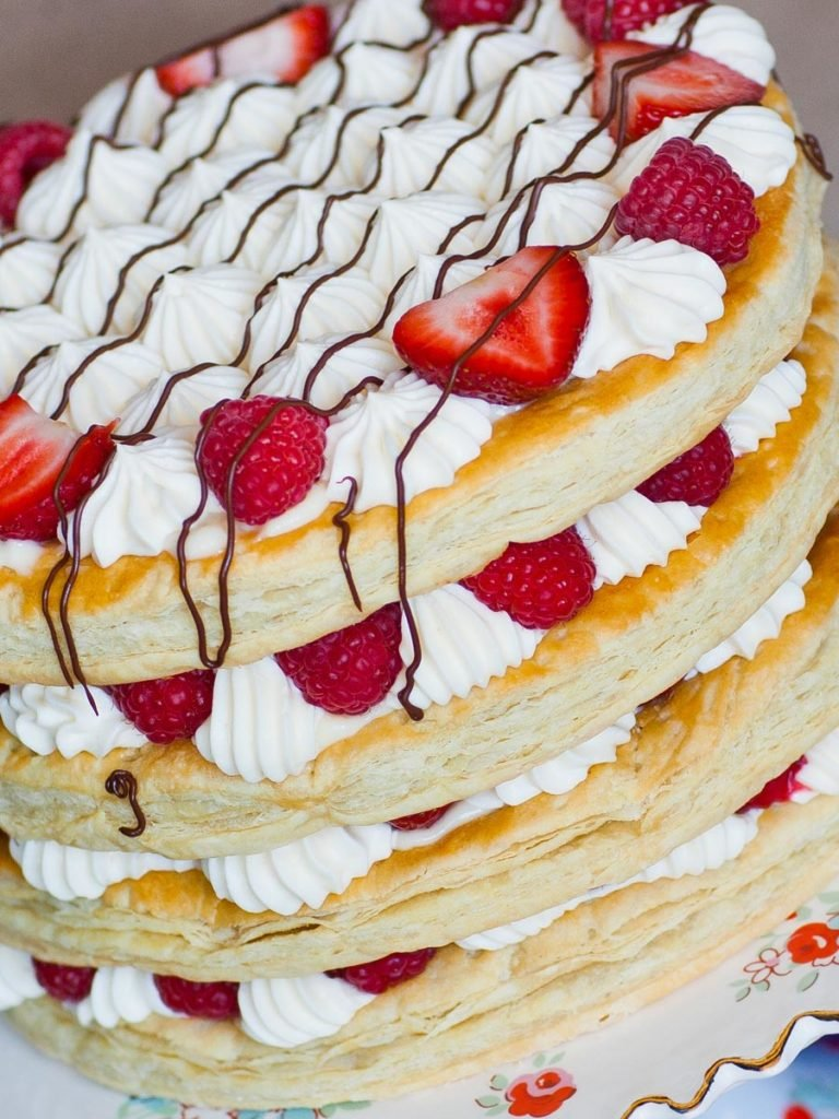 berries and cream mille feuille cake with custard filling