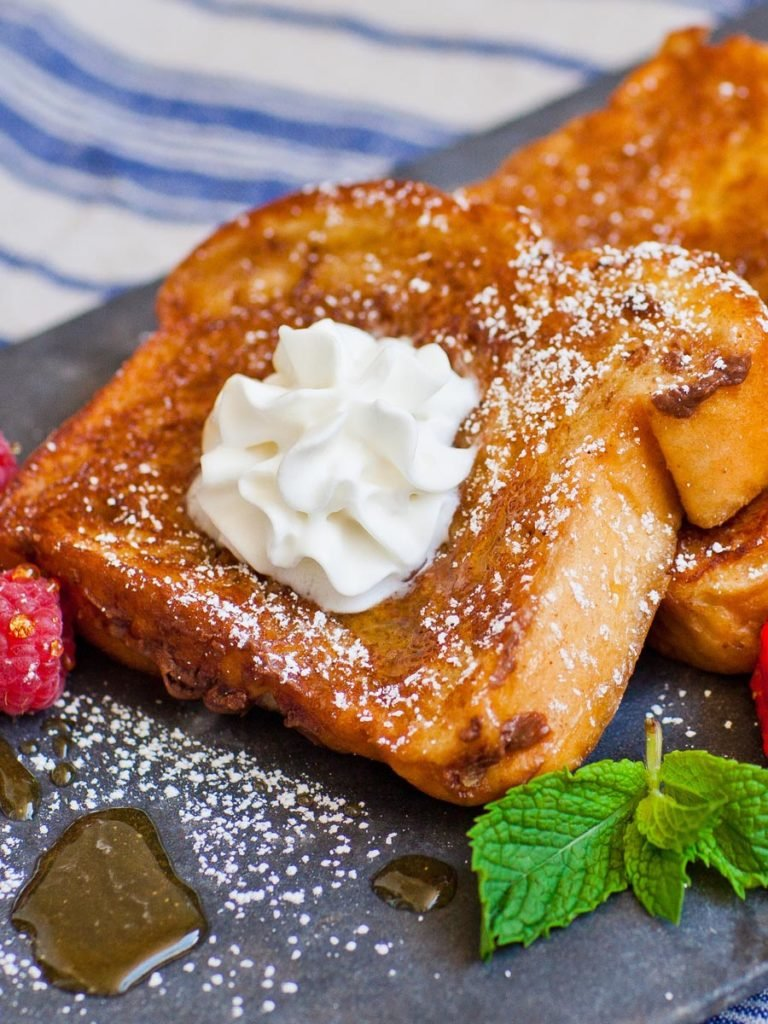 nutella french toast with whipped cream