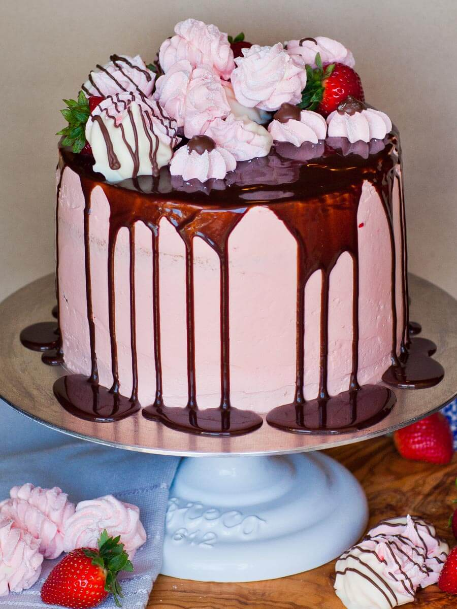 strawberry cake with chocolate ganache and strawberry buttercream