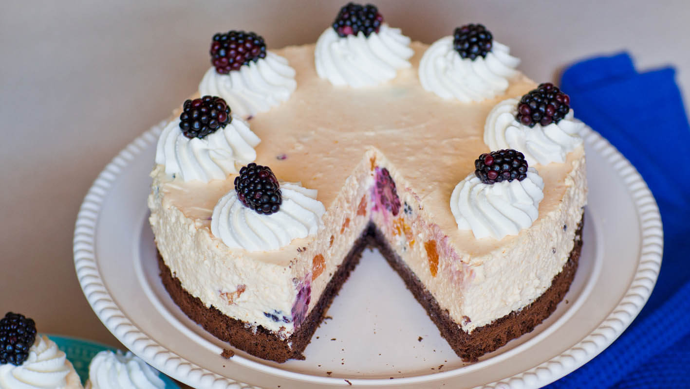 Blackberry Peach Champagne Mousse Cake