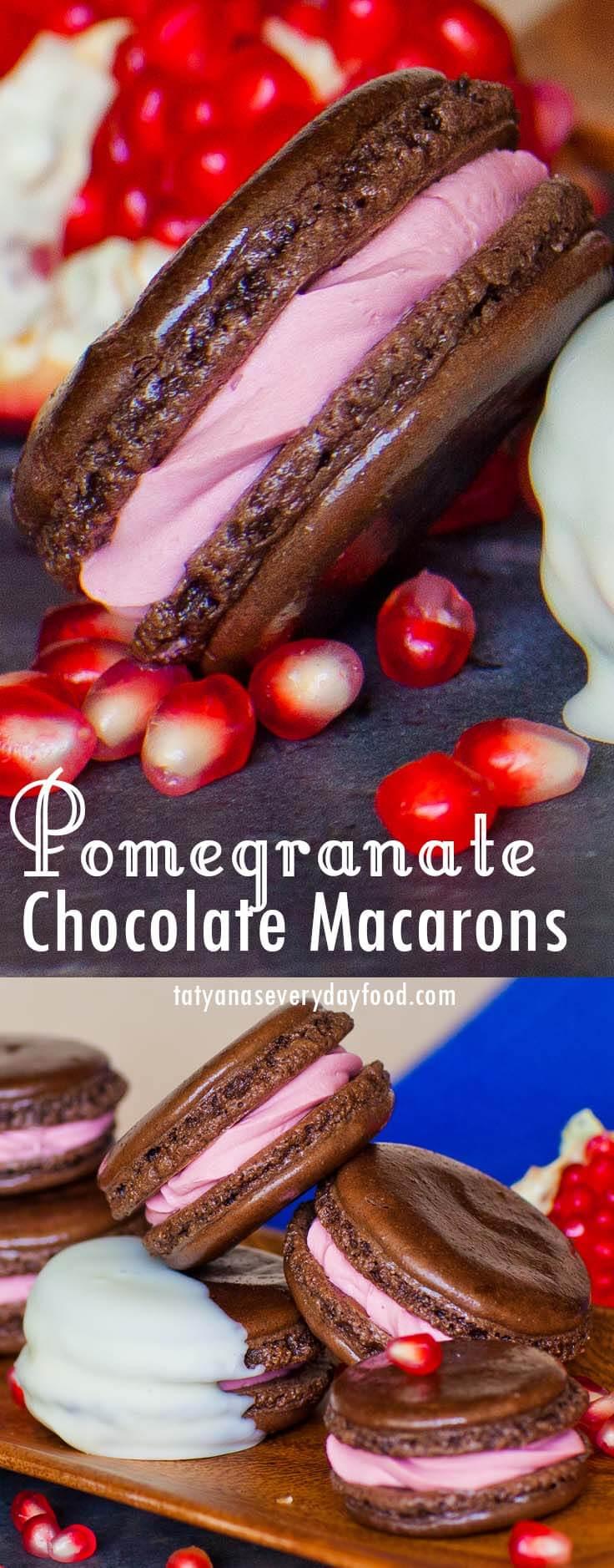 Chocolate Pomegranate Macarons video recipe