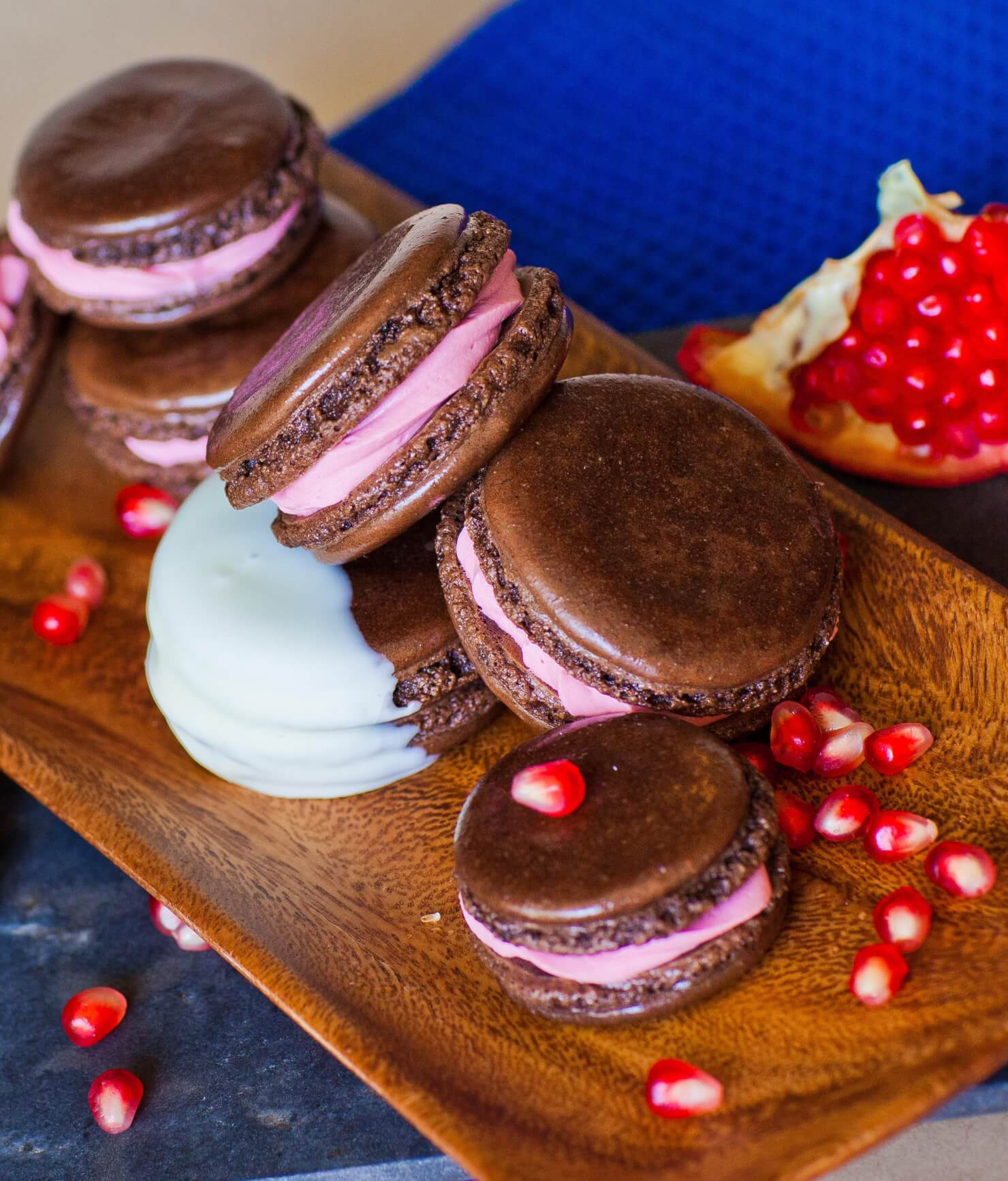 chocolate macarons with pomegranate filling