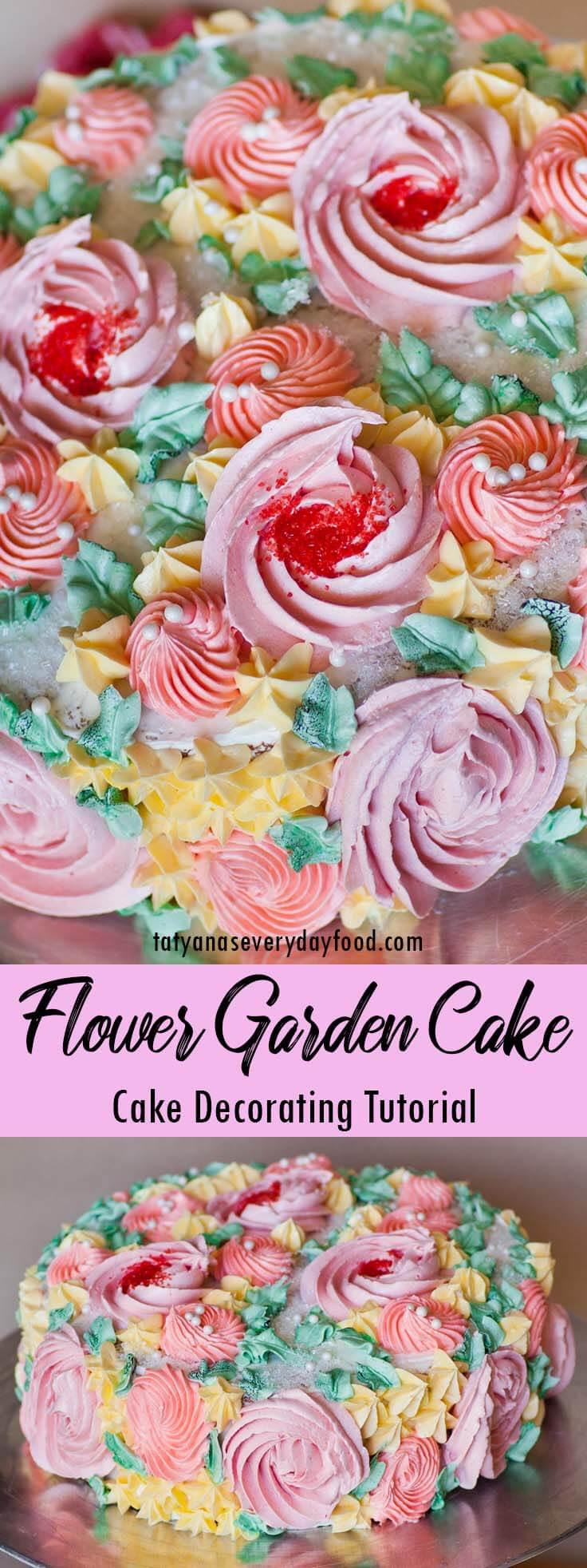Flower Garden Cake Decorating video tutorial