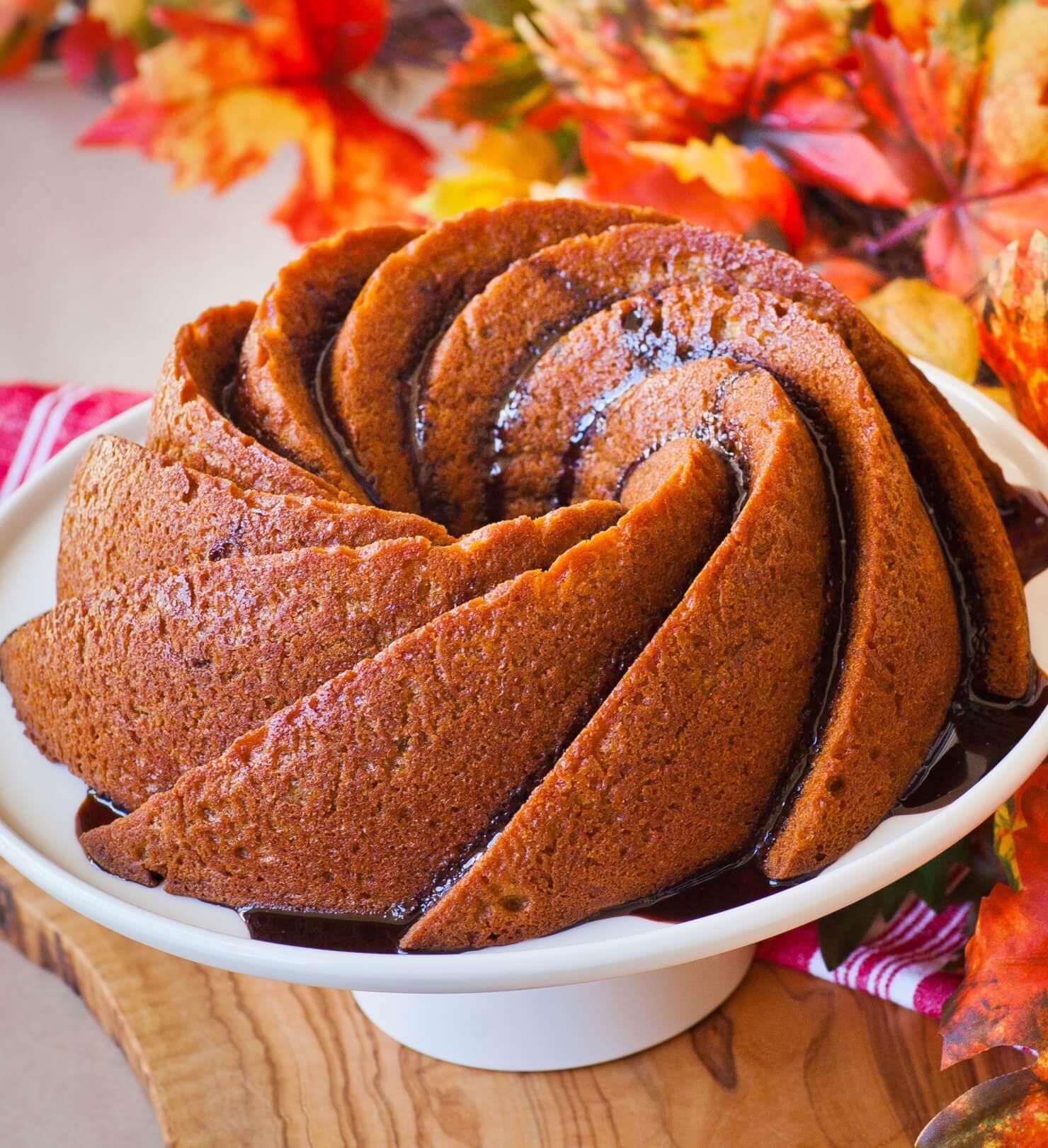 pumpkin maple bundt cake with chocolate glaze