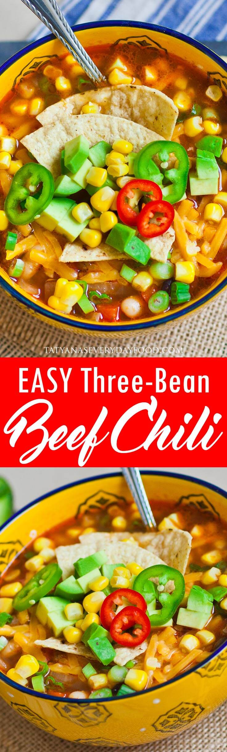 Easy Three-Bean Beef Chili with cheddar cheese video recipe