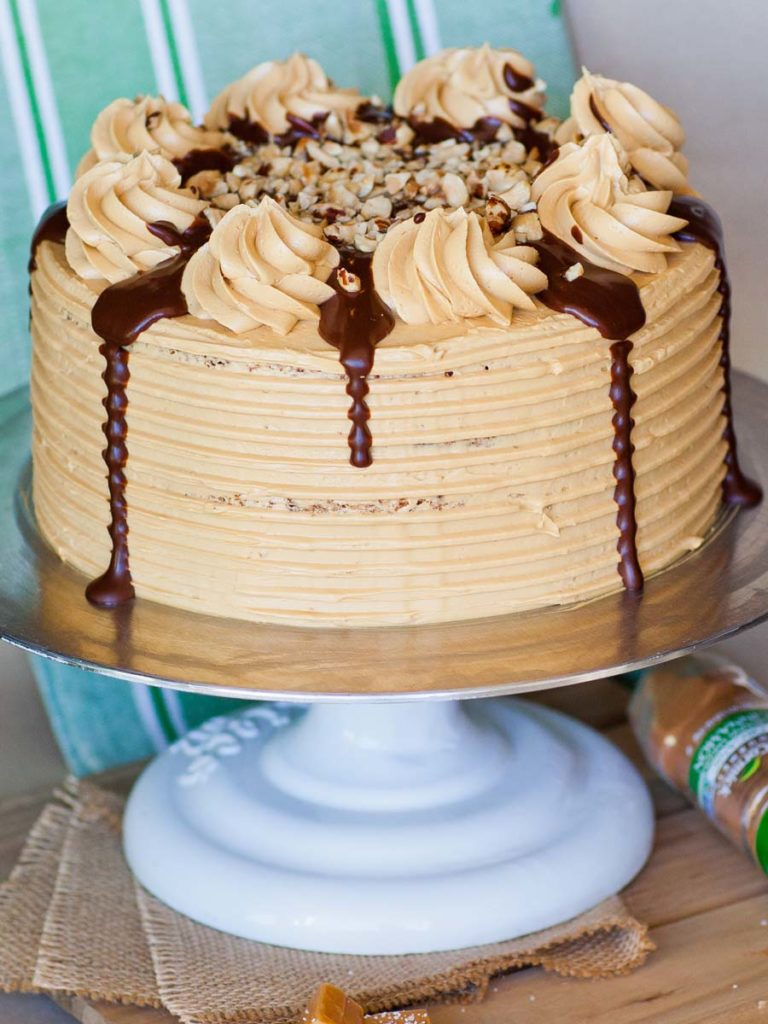 maple pecan cake with apple pie filling and caramel buttercream