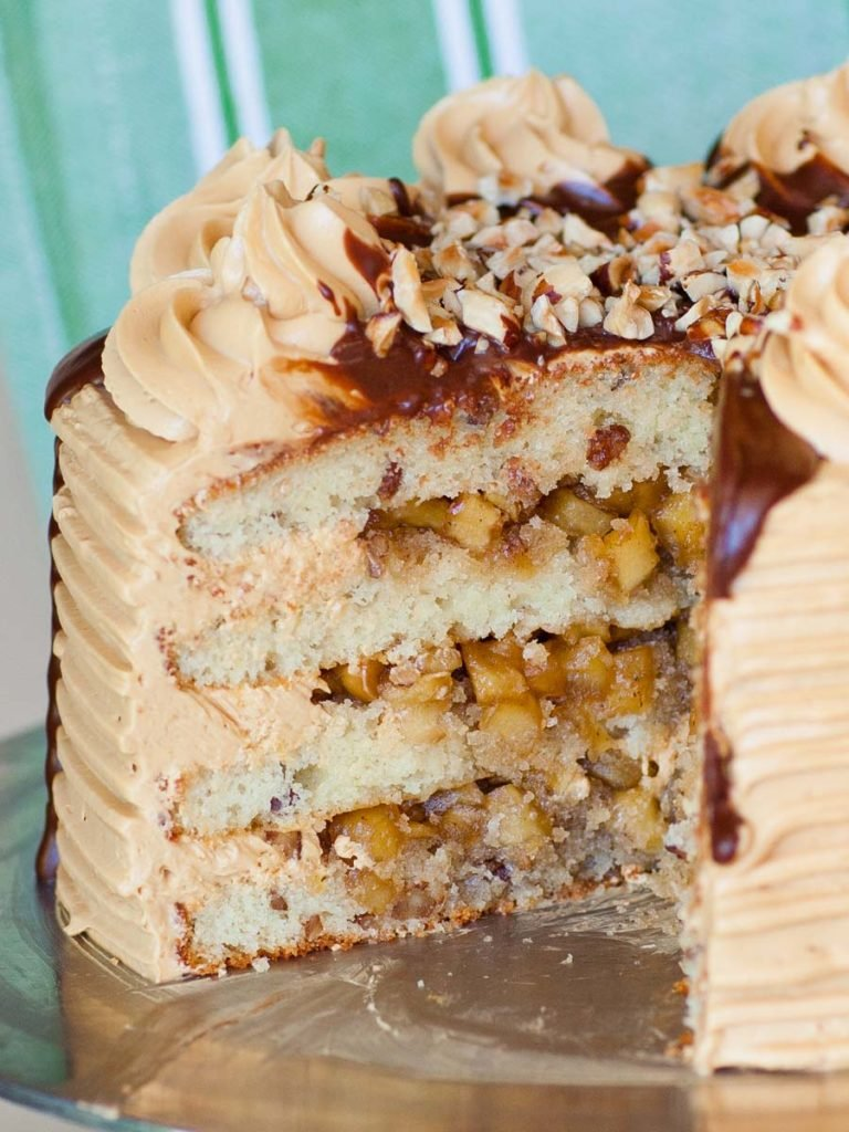 maple pecan apple cake with pie filling and caramel buttercream