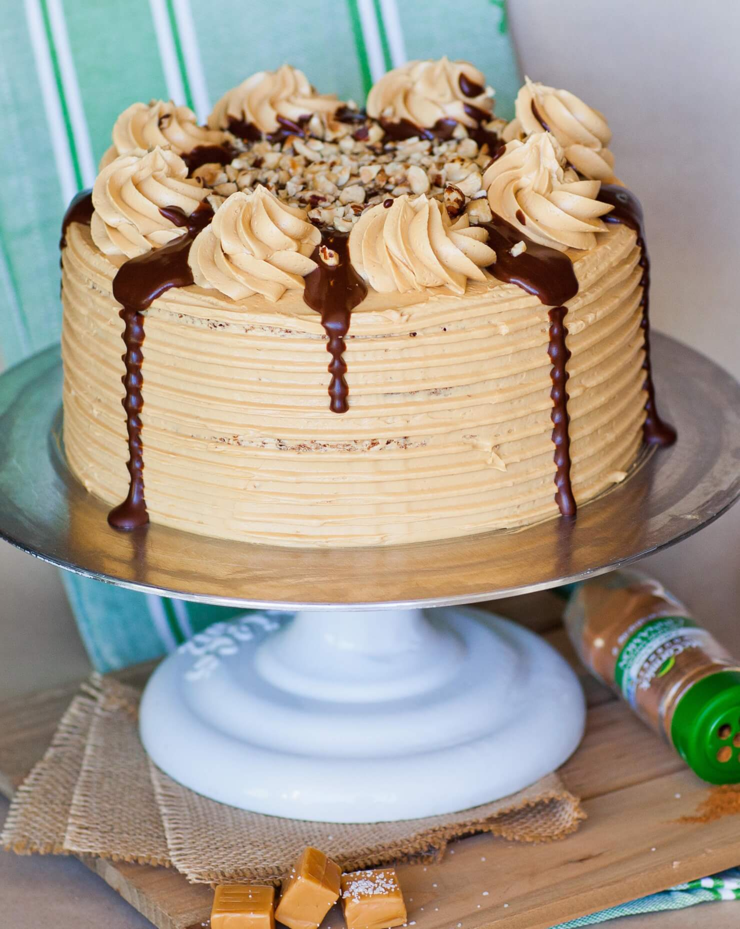 apple pie maple pecan cake with chocolate glaze