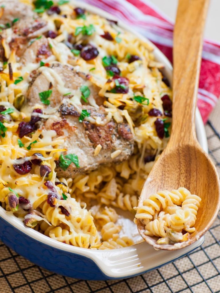 pasta casserole with fontina cheese and pork tenderloin