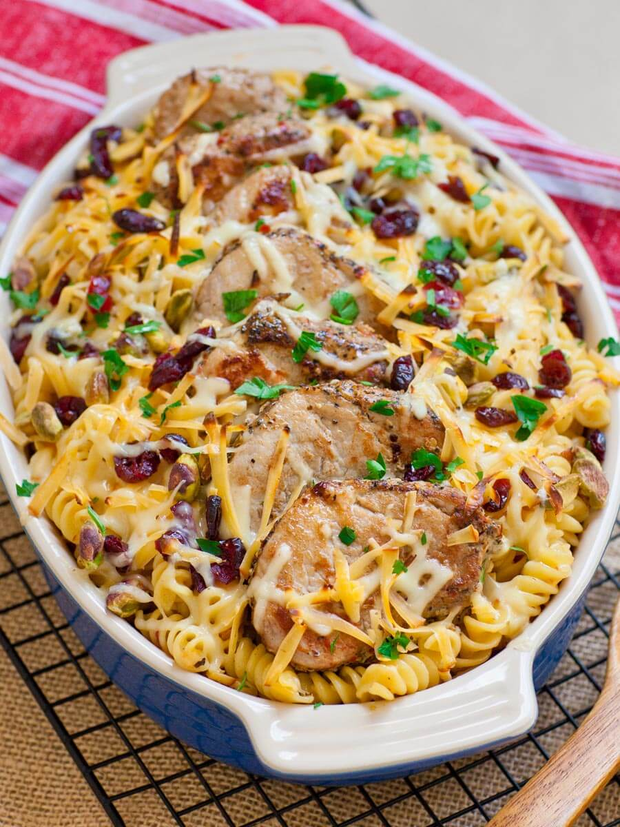 Cheesy pork casserole recipe with cranberries and pistachios
