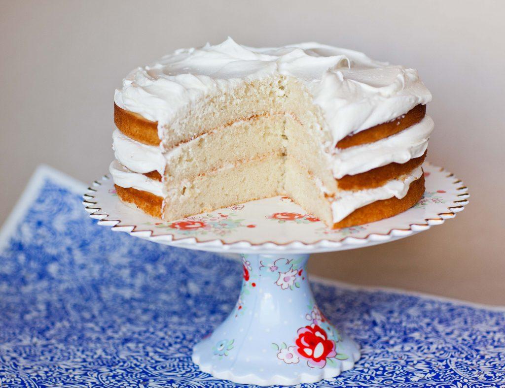 Simple Vanilla Cake Recipe sliced cake