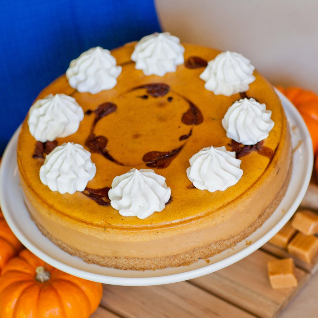 Pumpkin Caramel Cheesecake with chocolate swirls