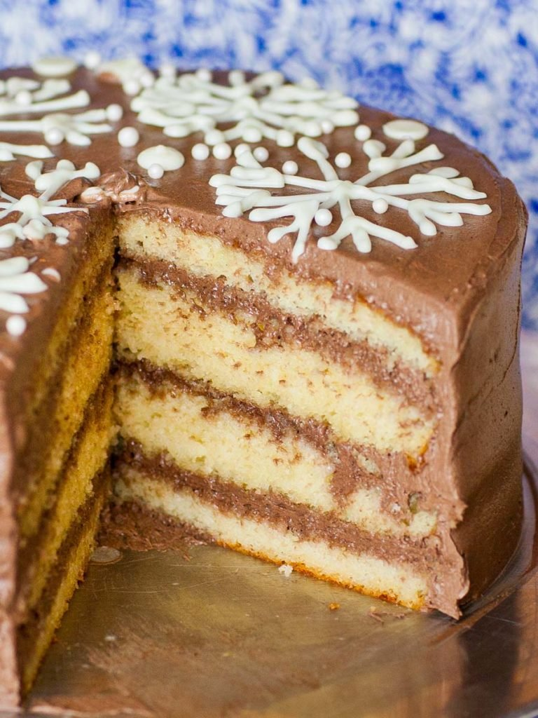 eggnog vanilla cake with chocolate frosting