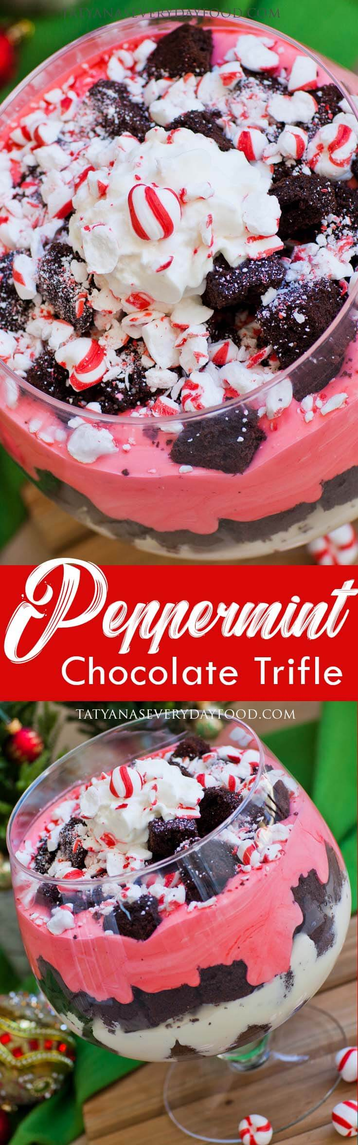 Peppermint Chocolate Trifle for Christmas