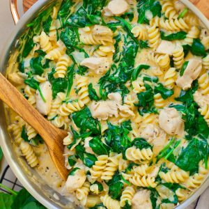 spinach dip chicken pasta