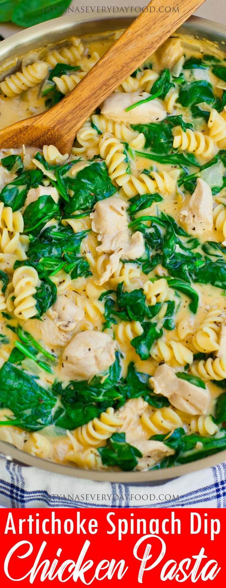 Spinach Artichoke Dip Chicken Pasta video recipe