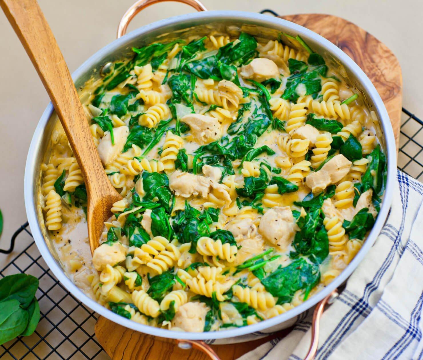 Spinach Artichoke Dip Chicken Pasta Skillet