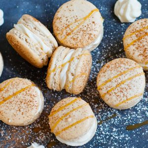 cinnamon macarons with cream cheese filling
