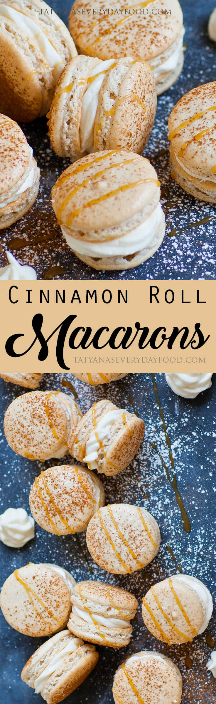 Cinnamon Roll Macarons with caramel