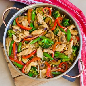teriyaki chicken and veggie stir fry with noodles